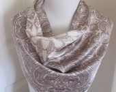 """Beautiful Vintage Off White Paisley Acetate Scarf  // 26"""" Inch 66cm Square"""