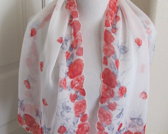 "Beautiful Vintage White Red Floral Sheer Silk Scarf - 16"" x 44"" Long"