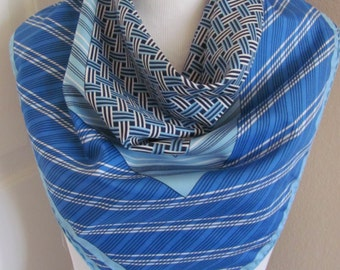 """Lovely Blue Geometric Acetate Scarf - 26"""" Inch 66cm Square"""
