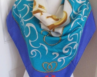 """Beautiful Blue White Turquoise Cruise Line Silk Scarf // 35"""" Inch 90cm Square // OMG My Fav"""