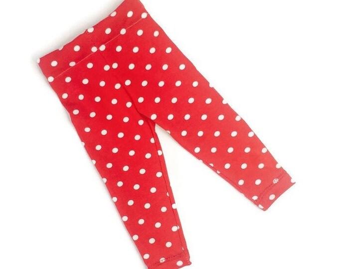 Leggings red, girls leggings dots, girls outfit, baby girls leggings, size newborn - 18 m