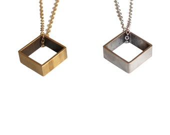 Cube Necklace, Dainty Small Square Shaped Geometric Pendant, gift for her, Minimal Everyday Wear Silver or Brass, square Box