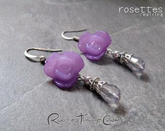 Rosettes earrings [in violet] / silver plated finish hook drop lightweight earrrings