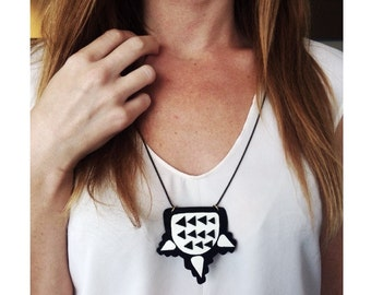Modern Black and White Geometric  x Polyurethane and Leather Necklace