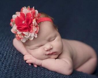 Cluster Headband, Baby Girl Headband, Spring Headband, Newborn Photo Prop, Photography Prop, Baby Girl Headband, Red Baby Headband