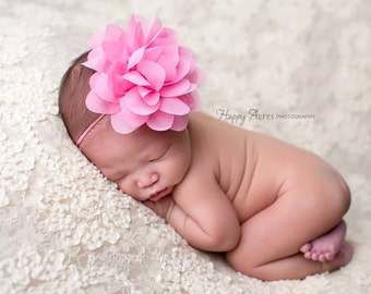 Pink Baby Headband, Newborn Headband, Baby Girl Prop, Newborn Photography Prop, Headband, MANY COLORS AVAILABLE