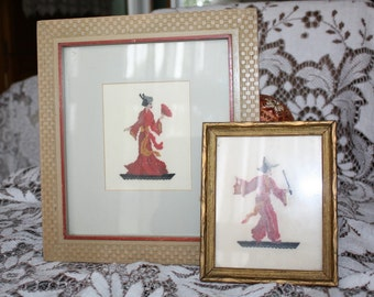 Antique Petit Point Framed Pictures Framed Oriental Couple - 2