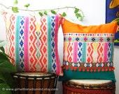 "Orange Turquoise Pillows Set of 2 - Mexican Boho Geometric Cushion Cover 16x16"""