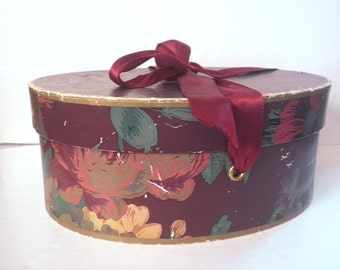 Vintage Ralph Lauren Wallpaper Hat Gift Box Storage Floral w. Satin Ribbon
