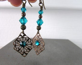 Indicolite Earrings, Brass Earrings, Filigree Earrings, Rustic Chic Earrings, Birthstone Earrings, Birthday Holiday, Free US Shipping