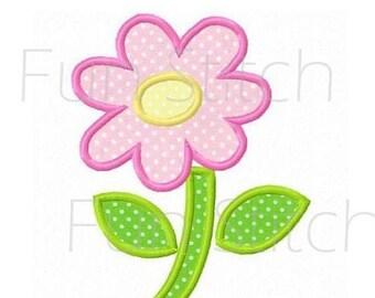daisy flower applique machine embroidery design instant download