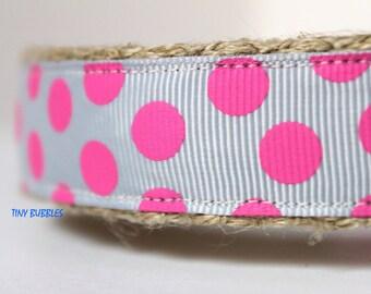 Polka Dot Dog Collar, Valentine Dog Collar, Pink Dog Collar, Adjustable Dog Collar, Pink and Silver Dog Collar, Girl Dog Collar