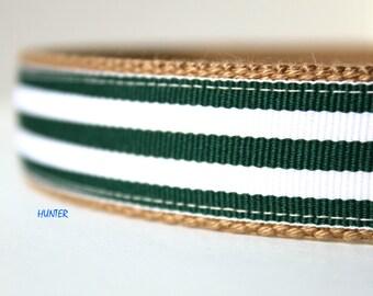 "Green and White Stripe Dog Collar, Retriever Dog Collar, Big Dog Collar, 1"" Dog Collar, Boy Dog Collar"
