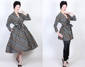 RARE Early 1950s 4 Piece Striped Rainbow Pastel w/ Inky Black Satin Lounging Set by Maxan - Princess Coat, Hourglass Jacket w/ Belt, & Pants