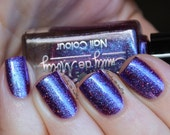 "Nail polish - ""Quest for Immortality""  dark purple to blue duochrome with glitter"