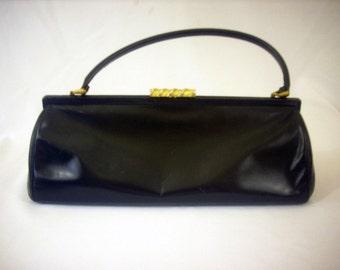 Handbag Doctor Purse 1960's Long Low Styling Black Cowhide