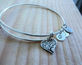 Mothers day gift, heart tree of life bangle, Personalized charm bracelet, initial, family love, grandmother, grandma,  mom birthday