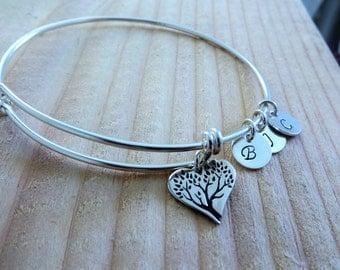 tree of life bangle bracelet, Personalized bangle charm bracelet, initial charm, family love, gift for grandmother