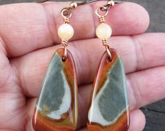 Succor Creek Jasper Earrings Yellow Agate Earrings Gemstone Earrings