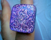 Ring Dichroic Sparkling Purple Pink Big Statement Ring Chunky Adjustable Fused Glass Jewelry Iridescent Hand Jewelry Accessories Purple