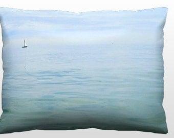 Coastal Throw Pillow, Nautical Pillow, Sailboat Pillow, 12x16 Photo Pillow Blue & White Decor Beach Cottage Decor Living Room Summer Bedroom