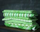 Vintage Sheet Fat Quarter Bundle - Green Mix - Set of 7