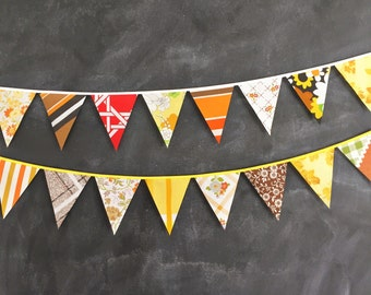 Groovy Funky Vintage Fabric Bunting Decoration / Harvest Festival Bunting / Flag Banner /Thanksgiving Autumn Fall Decor / Single Sided Flags