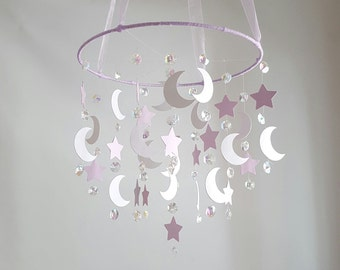 SMALL Star Moon Crystal Mobile, Crystal Baby Mobile, Lavender White Nursery, Crystal Star Chandelier, Nursery Baby Mobile, Photography Prop