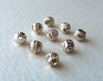 Sterling Silver Small Fancy Beads - Diamond Cut Silver Beads, Ornate Sparkling Little Spacer Beads - 4mm - Qty 9 pcs