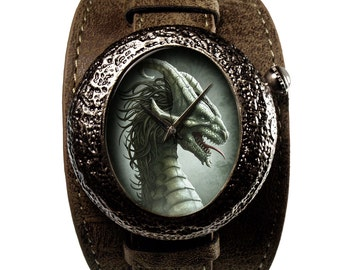 Limited Edition Dragon Art Watch - Silver Dragon by Kerem Beyit