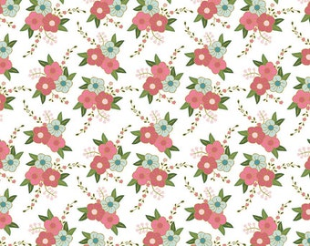 Pink Green Aqua and Metallic Gold Floral Cotton Fabric, Wonderland by Melissa Mortensen For Riley Blake, 1 Yard