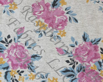 Magenta Blue and Mustard Heathered Grey Floral 4 Way Stretch FRENCH TERRY Knit Fabric, Club Fabrics PREORDER
