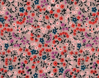 Coral Navy Red and Purple Petite Floral Cotton Fabric, Lucky Strikes By Kimberly Kight for Cotton and Steel, Clothesline Floral Red, 1 Yard