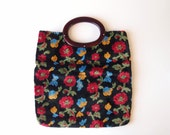 "R E S E R V E D """" 1960s Velvet Chenille Tote / Clutch Bag purse plush black velveteen with flowers & cherry amber lucite handle"