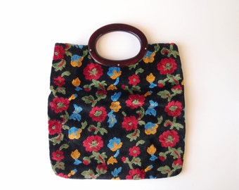 1960s Velvet Chenille Tote / Clutch Bag purse plush black velveteen with flowers & cherry amber lucite handle