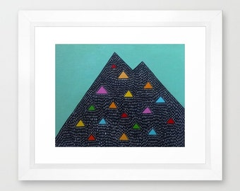 Framed Geometric Mountain Triangle Art Seafoam Green