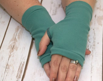 Womens Fingerless Gloves - Organic arm warmers- Fingerless mitts-Short gloves-Texting Gloves-Green -Blue-Driving Gloves-Best Seller-Handmade