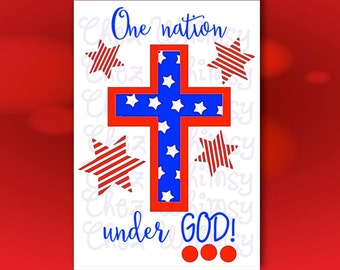 4th of July SVG, Cross SVG, Red White and Blue Cutting File, Stars and Stripes Design