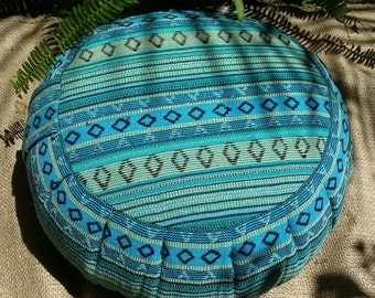 BUCKWHEAT hull Meditation Cushion covered In Exotic Cusco Hasian Woven Cotton