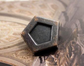 Metal Buttons - Rough Pentagon Metal Buttons , Dark Gunmetal Color , Shank , 0.79 inch , 6 pcs