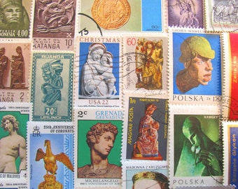 Strike A Pose 50 Statues Vintage Postage Stamps Fine Art Sculptures Pottery Michelangelo Bust Body Scrapbooking Brass US Worldwide Philately