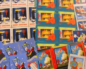 Season's Greetings 100 Vintage Christmas Seals Megamix 1940s Tuberculosis Traditional American Lung Association WW2 Baby Boomer Rationing NY