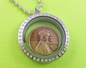 Anniversary Gift - Anniversary Gift For Women - Personalized locket - Stamped Penny - Penny Locket Necklace - Anniversary Gift - For Her
