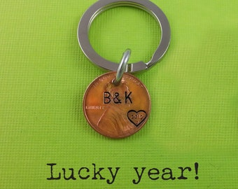 Lucky Year Keychain - Lucky Us - Personalized Keychain - Wedding date - Hand Stamped - Anniversary Keychain - Husband / Wife Gift -