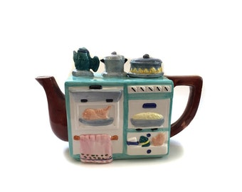 Vintage Novelty Teapot Kitchen Stove Range - Kitchen Kitch