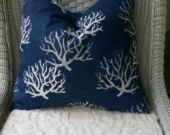 NEW Navy Coral  Pillow cover All Sizes, Fabric Both Sides,Your Choice Size