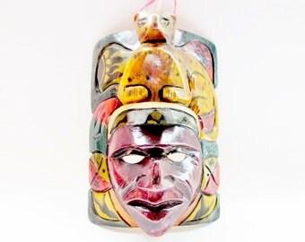 Vintage Hand Carved Aztec Mayan Tribal Mask Wall Art - Mayan Jaguar Warrior Wooden Mask - Mexican Folk Art Hand Carved Mask