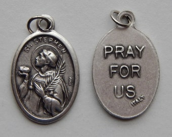 5 Patron Saint Medal Findings - St. Stephen, Die Cast Silverplate, Silver Color, Oxidized Metal, Made in Italy, Charm, Drop, RM704