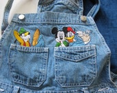 Mickey Disney Short Overalls denim blue Donald Duck Goofy vintage