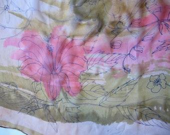 Sheer Masterpiece Vera Ladybug Scarf chiffon silk green pink